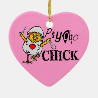 Psycho Chick Ceramic Ornament