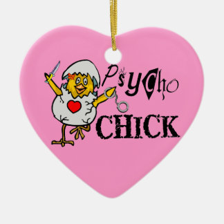Psycho Chick Double-Sided Heart Ceramic Christmas Ornament