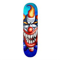 clown, circus, evil, colorful, head, Skateboard with custom graphic design