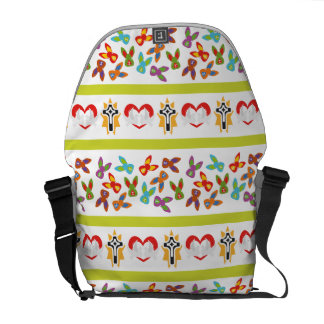 Psycho Easter Pattern colorful Messenger Bag