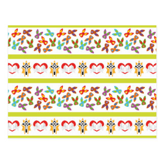Psycho Easter Pattern colorful Postcard