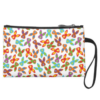 Psycho Easter Pattern colorful Suede Wristlet Wallet
