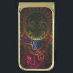 """Psycho Gears Flame Fractal Art Gold Finish Money Clip<br><div class=""""desc"""">Available in cases covers and sleeves for mobile devices, journals, novelty poker chips, wrist watches, laptop cases, mouse pads, posters, lamps, wallets, wrapping paper, drawstring backpack, favor boxes, wine box, mini basketball hoop, car mats and guitar pick.</div>"""
