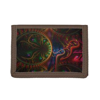Psycho Gears Flame Fractal Art Tri-fold Wallet