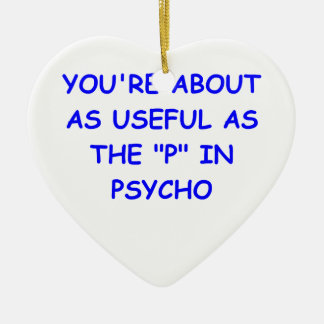 psycho Double-Sided heart ceramic christmas ornament