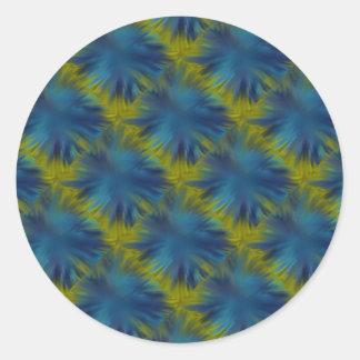Psycho Rainbow Stars in blue green Retro ArtDeco Classic Round Sticker