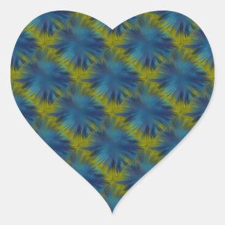 Psycho Rainbow Stars in blue green Retro ArtDeco Heart Sticker