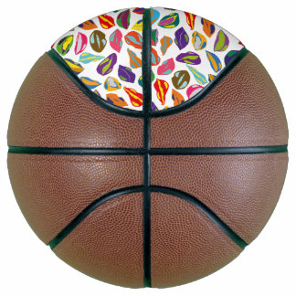 Psycho retro colorful pattern Lips Basketball