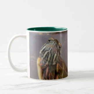 Psycho the Red Eared Slider Turtle Two-Tone Coffee Mug