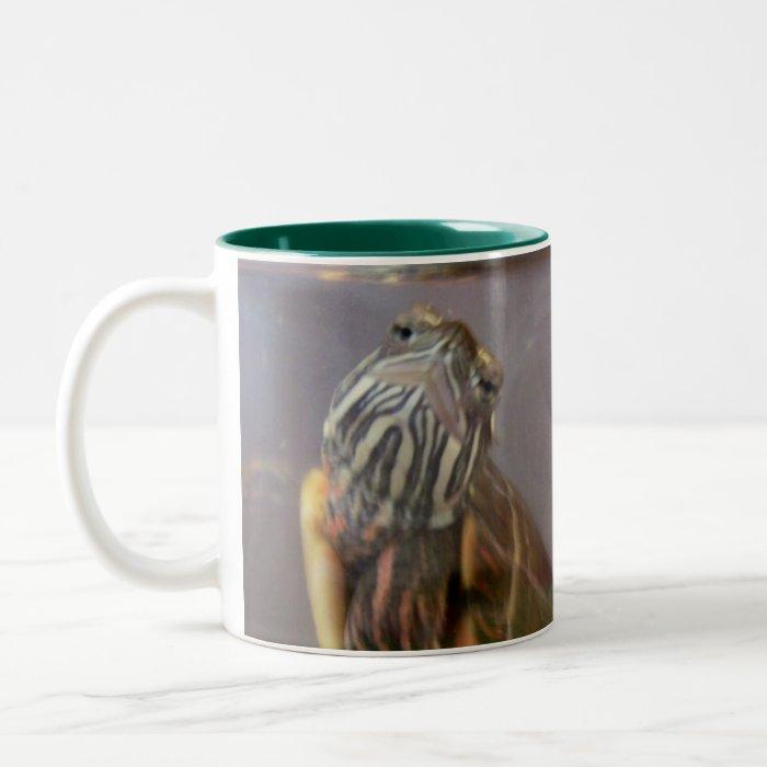 Psycho the Red Eared Slider Turtle Two-Tone Coffee Mug