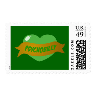 Psychobilly Tattoo Heart Postage Stamp