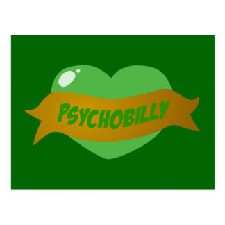 Psychobilly Tattoo Heart Post Card
