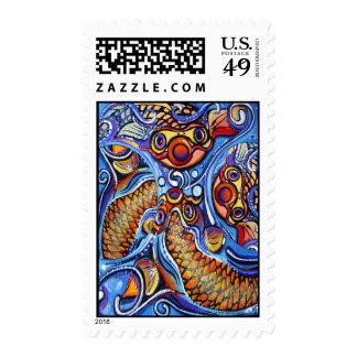Psychodelic coy fish by Julie Ann Stricklin Postage Stamp
