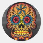 Psychodelic skull, www.sk8rzlyf.com round sticker