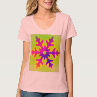 PsychoFlowers Snowflake  V Neck Ladies Tee Shirt