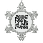 Psychologist by Day Cat Lover by Night Snowflake Pewter Christmas Ornament