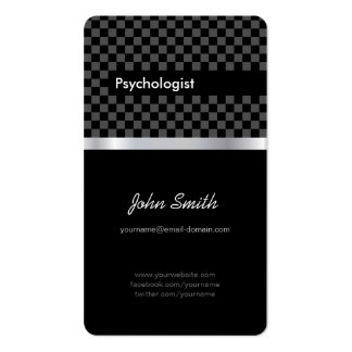 Psychologist - Elegant Black Checkered Business Card