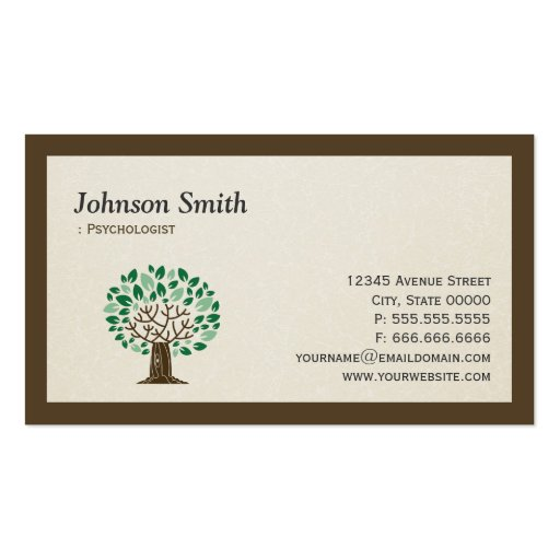 Psychologist - Elegant Tree Symbol Business Card Templates