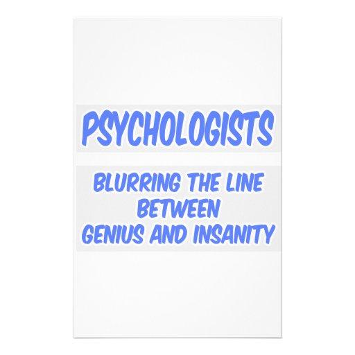Psychologist Joke .. Genius and Insanity Stationery Design