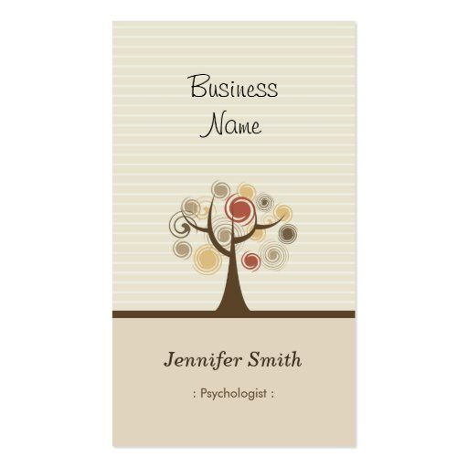 Psychologist - Stylish Natural Theme Double-Sided Standard Business Cards (Pack Of 100)