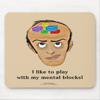 Psychology Humor Cartoon Man with Mental Blocks Mouse Pad