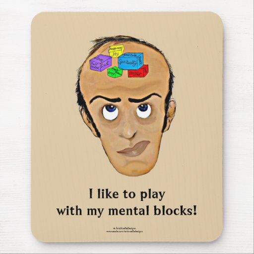 Psychology Humor Cartoon/Man with Mental Blocks Mouse Pad | Zazzle