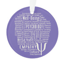 PSYCHOLOGY Word Cloud custom color ornament