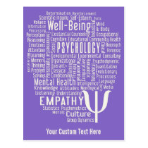 PSYCHOLOGY Word Cloud custom color postcard