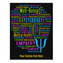 PSYCHOLOGY Word Cloud custom postcard