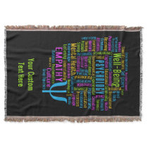 PSYCHOLOGY Word Cloud custom throw blanket