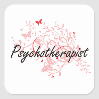 Psychotherapist Artistic Job Design with Butterfli Square Sticker