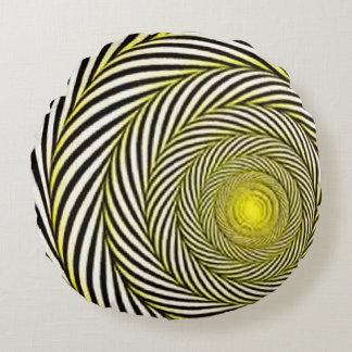 Psycodelic design Yellow Round Pillow