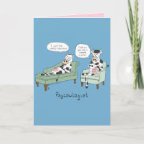 Psycowlogist - Funny Cow Psychologist Card