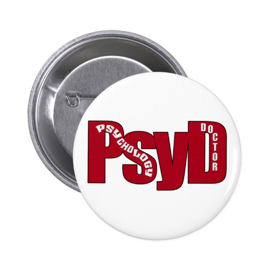 PsyD BIG RED DOCTOR OF PSYCHOLOGY BOLD Button