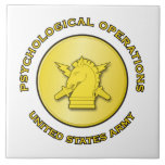 PsyOps enlisted brass w text Ceramic Tile