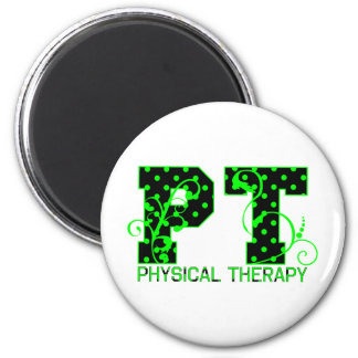 pt 2 black and green polka dots 2 inch round magnet