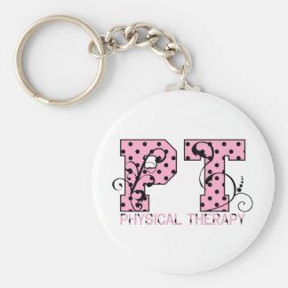 pt black and pink polka dots key chains