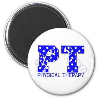 pt blue white polka dots 2 inch round magnet