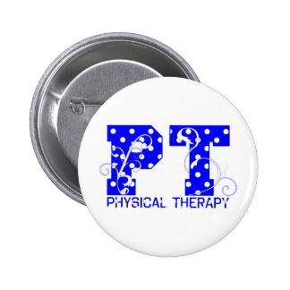 pt blue white polka dots button