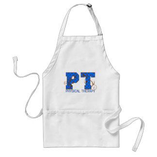 pt brown blue polka dots adult apron
