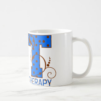 pt brown blue polka dots coffee mug
