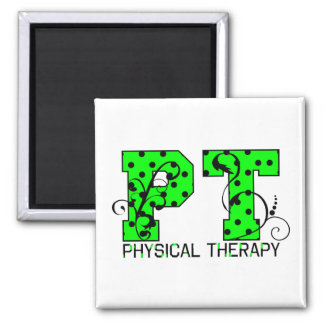 pt green and black polka dots 2 inch square magnet