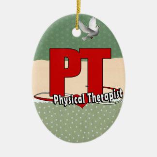 PT LOGO BIG RED    Physical Therapist Ceramic Ornament