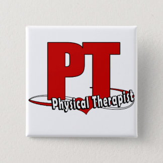 PT LOGO BIG RED    Physical Therapist Pinback Button