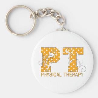 pt orange white polka dots keychain