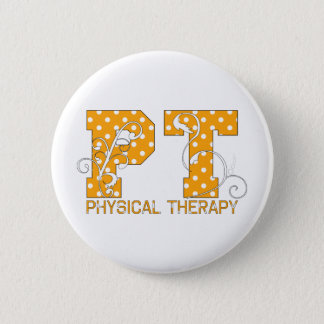 pt orange white polka dots pinback button