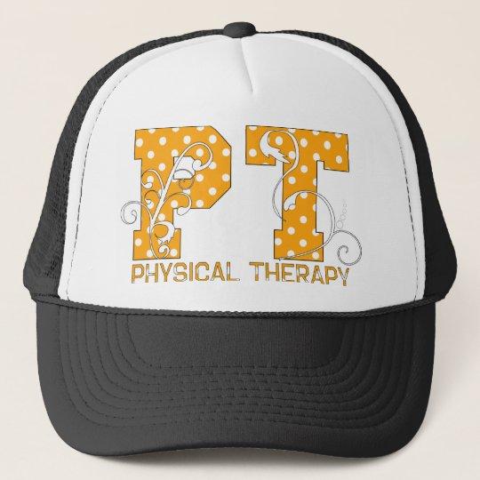 pt orange white polka dots trucker hat