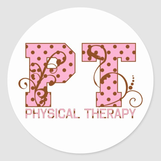 pt pink and brown polka dots classic round sticker