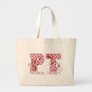 pt pink and brown polka dots large tote bag