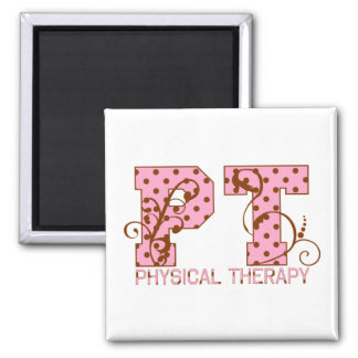 pt pink and brown polka dots refrigerator magnet